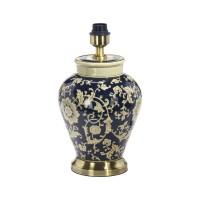 Fong Hong Lampfot Porslin - Blom Blå/Svart 38 cm
