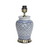 Mi Hong Lampfot porslin - Lill Blå/Vit 34 cm