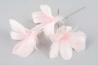 Rosa fjädrar på ståltråd - Rosa fjädrar på ståltråd set om 12