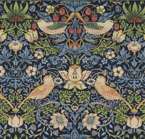 Tyg William Morris-Strawberry thief - William Morris-Strawberry thief Blå