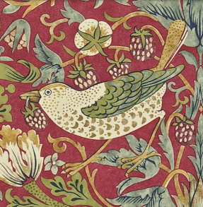 Tapet William Morris - Strawberry Thief - William Morris Strawberry Thief Röd