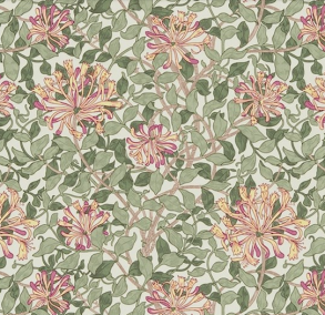 Tyg William Morris - Honeysuckle - Tyg Honeysuckle Gulorange