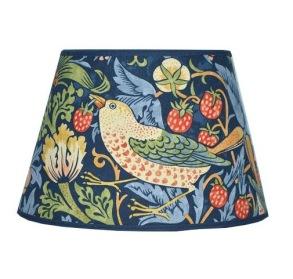 Lampskärm William Morris - Strawberry Thief Blå Oval 25 - Lampskärm William Morris - Strawberry Thief Blå Oval 25