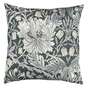 Kudde William Morris Pure - Honeysuckle and Tulip Svart