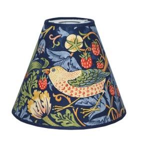 Lampskärm William Morris - Strawberry Thief Blå med Toppring 19 - Lampskärm William Morris - Strawberry Thief Blå med Toppring 19