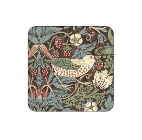 Coasters William Morris - Strawberry Thief Brun