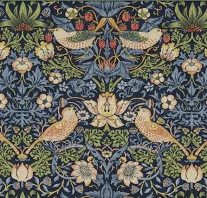 Gardinlängd William Morris - Strawberry Thief Mörkblå - Längd < 1,90 SBT Mörkblå
