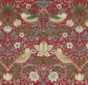Gardinlängd William Morris - Strawberry Thief Röd - Längd < 1,90 SBT Röd