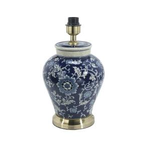 Fong Hong Lampfot Porslin - Blom Mörkblå 38 cm