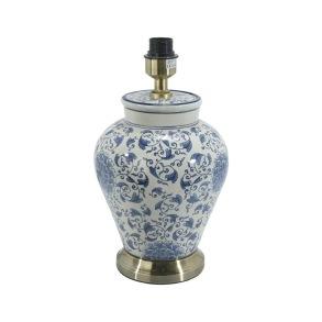 Fong Hong Lampfot Porslin - Blom Vit/Blå 38 cm