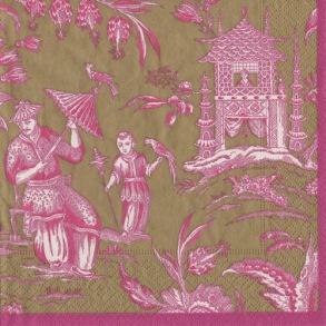 Pappersservett Caspari - Silk road Rosa