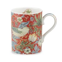 Mugg William Morris - Strawberry Thief Röd