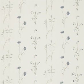 Tyg Sanderson - Meadow Grass Embroidery - Tyg Sanderson - Meadow Grass Embroidery Cobalt