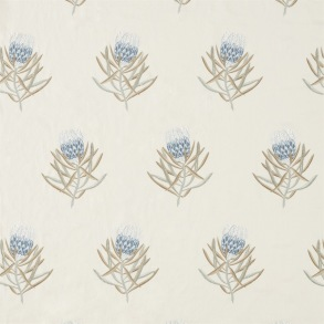 Tyg Sanderson - Protea Flower Embroidery - Tyg Sanderson - Protea Flower Embroidery China Blue