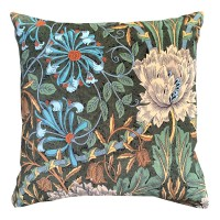Kudde William Morris - Honeysuckle & Tulip Grön Velvet