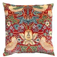 Kudde William Morris - Strawberry Thief Röd Velvet
