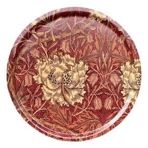 Rund 46bricka William Morris - Honeysuckle & Tulip Röd - Rund 46bricka William Morris - Honeysuckle & TulipRöd