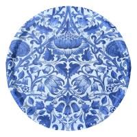 Rund bricka 46 William Morris - Lodden Blå