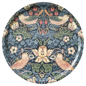 Rund bricka 46 William Morris - Strawberry Thief Blå