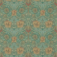 Tapet William Morris - Honeysuckle & Tulip Emerald/Russet