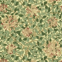 Tapet William Morris - Honeysuckle Green/ Coral Pink