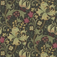 Tapet William Morris - Golden Lily Charcoal Olive