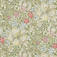 Tapet William Morris - Golden Lily Green Red