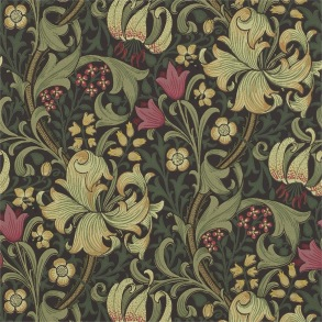 Tapet William Morris - Golden Lily Charcoal Olive - Tapet William Morris Golden Lily 216463