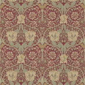 Tapet William Morris - Honeysuckle & Tulip Red/Gold