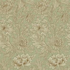 Tapet William Morris - Chrysanthemum Toile Eggshell/ Gold - Tapet William Morris Chrysanthmum Toile 210418