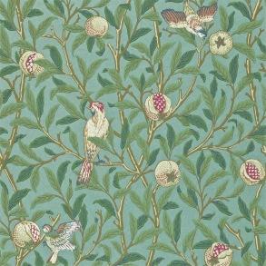 Tapet William Morris- Bird & Pomegranate Turquoise/ Coal - Tapet William Morris Bird & Pomegranate 212538