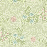 Tapet William Morris - Larkspur Green/ Coral