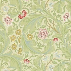 Tapet William Morris - Leicester Green/ Coral - Tapet William Morris Leicester 212543