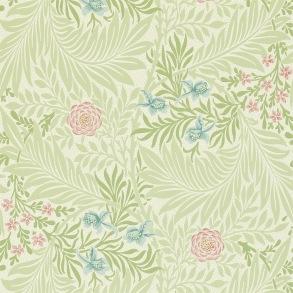 Tapet William Morris - Larkspur Green/ Coral - Tapet William Morris Larkspur 212558