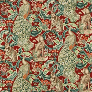 Tyg William Morris - Forest Linne Red