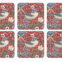 Coaster William Morris - Strawberry Thief Röd