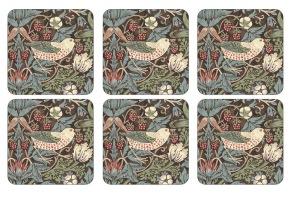 Coaster William Morris - Strawberry Thief Brun - Coaster William Morris - Strawberry Thief Brun