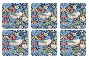Coaster William Morris - Strawberry Thief Blå - Coaster William Morris - Strawberry Thief Blå