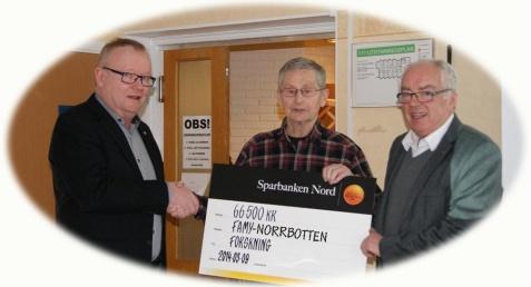 Piteå Lions, genom Börje Johansson och Lennart Jonsson, överlämnade 66 500 kr till föreningen i samband med Årsmötet.  TACK Piteå Lions www.pitea.lions.se