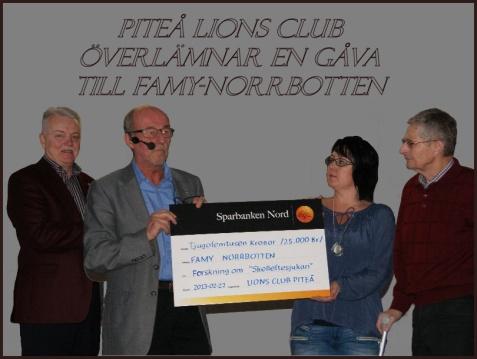 Piteå Lions överlämnar gåva vid forskarseminariet 2013