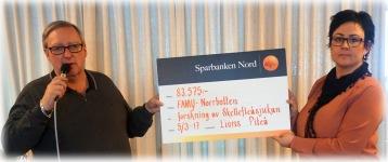 Leif Lidman  (Piteå Lions) överlämnade 83 575 kr till föreningen i samband med årsmötet 2017. Tusen TACK Piteå Lions!