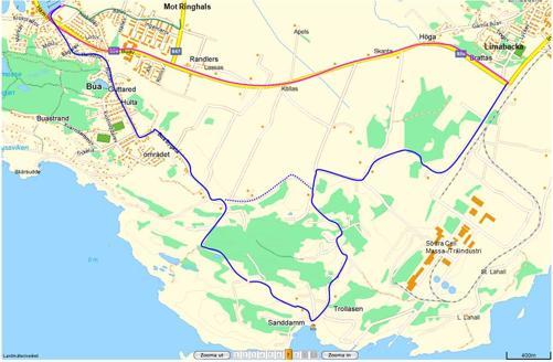 Rosa sträcka planeras färdigställas 2012, blå sträckning är alternativ kustnära dragning längs med landsvägar av asfalt och grus.