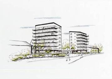 Varbergs Bostad har byggplaner för två punkthus i centrala Bua. 6 resp 7 våningar.