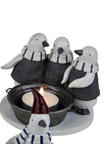 Pingviner i ylletröjor för värmeljus, 11x11x8 cm