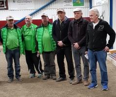 Finallagen i A-slutspelet. Från vänster: Tvåorna Jonny Patron, Bill Jakobsson och Yngve Evaldsson och segrarna Claus-Göran Sjöholm, Håkan Paaske och Christer Lilja.
