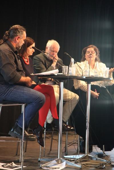 Mikael Olsson, Birgitta Ohlsson, Thomas Hammarberg och Miranda Voulusranta i samtal om romernas situation i Europa
