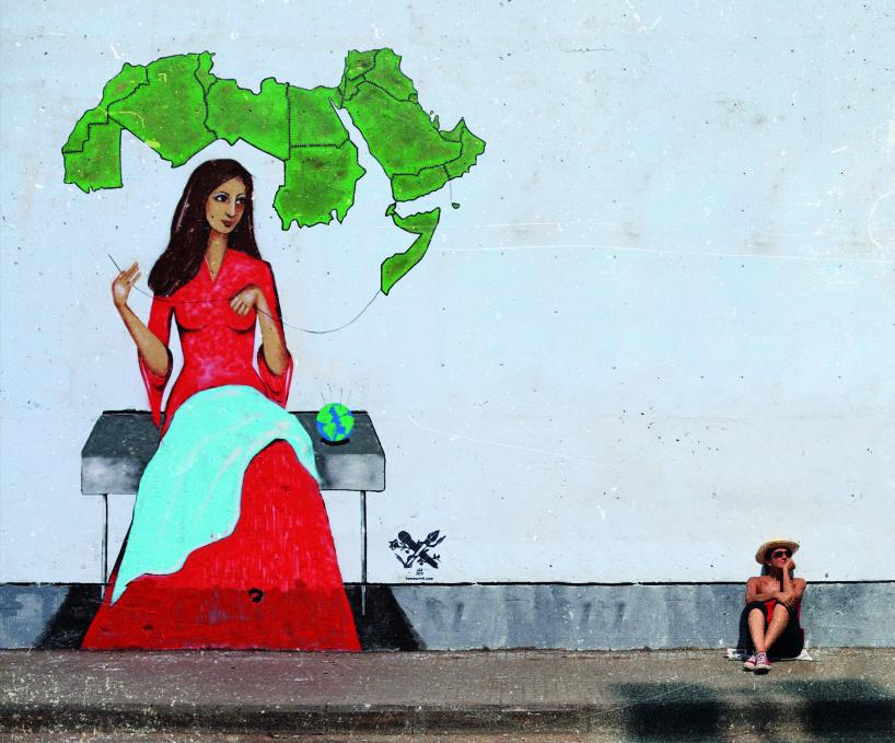 Tania Salehs muralmålning Sewing the Arab world