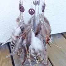 Fjäderörhänge - Peace, brunt