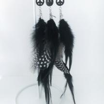 Fjäderörhänge - peace, svart