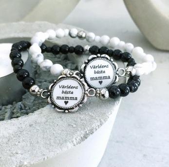 Världens bästa mamma - Vita pärlor, svart hjärta